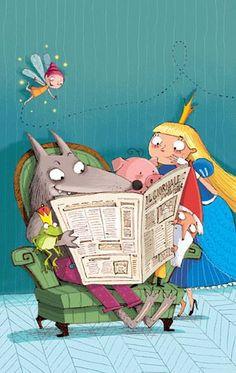 Leyendo la prensa en el país de los cuentos (ilustración de Barbara Bongini)