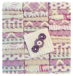 """Chenille fabric quilt squares 42-6"""" blocks, purple/ lavender , very shabby chic, vintage bedspread fabric by lilhoneysshoppe on Etsy"""