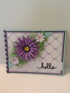 Hand made card , purple flower and daisies & leftover pieces of a die cut/