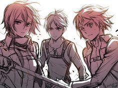 Mikasa, Eren and Armin Armin, Eren X Mikasa, Ereri, Anime Friendship, Attack On Titan Eren, Manga Anime, Anime Guys, Sketches, Animation
