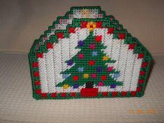 Christmas Tree Napkin holder in Plastic canvas by SpyderCrafts