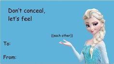 cartoon valentine's card elsa feel each other
