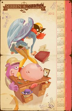 Reworked Birdgirl calender illustration for Gallery 1988's Adult Swim show