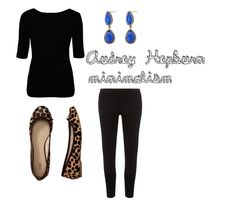 black shirt + black cropped pants + leopard ballet flats + bright simple earrings