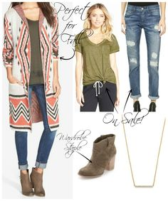 Kiss Me Darling Fall outfit, winter outfit, cardigan, boyfriend denim, booties, olive green blouse, dainty necklace