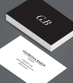 Sharp Contrast: there's very little more authoritative than simplicity – and yet, using a simple black and white graphic and a classic cursive font, you can make your initials as arresting as any over-complicated design. #moocards #luxebymoo #businesscards
