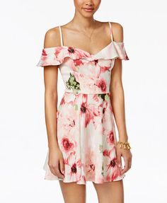Emerald Sundae Juniors' Floral-Print Cold-Shoulder Fit & Flare Dress | macys.com