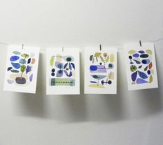 Fruit Set of 4 giclee prints original watercolor painting spring retro modern wall print sets hangings