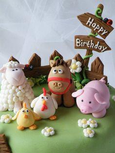 Farm Animals Cake Farm Animals Cake - Cake by CakeHeaven by Marlene - CakesDecor<br> Farm Animal Cakes, Farm Animal Party, Farm Animal Birthday, Barnyard Party, Farm Birthday, Farm Animals, Fondant Toppers, Fondant Cakes, Bolo Minion