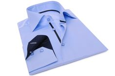 Sky Blue Shirt Navy Lining Cutaway Collar