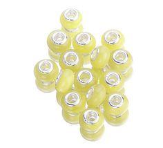 Cat's Eye Beads Lampwork European Bead 10pcs Yellow by EOZYBEADS    $4.99