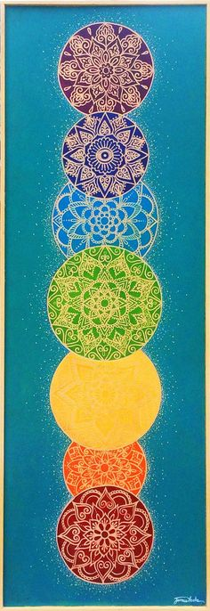 Chakra Mandala, 16 x 47 commissioned by Peace Through Yoga, Danville, IN. Jamie Locke - www. Mandala Art, Mandalas Drawing, Chakra Art, Chakra Healing, Chakra Painting, Les Chakras, Chakra Meditation, Third Eye, Sacred Geometry