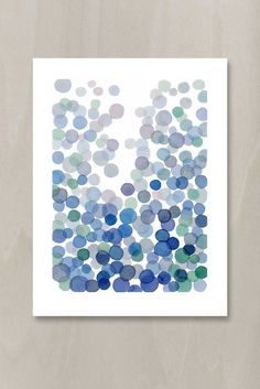 Blue Bubbles Watercolor Painting - Minimal Abstract Indigo Green Circles Splash Modern Wall Art