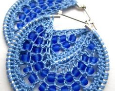Light blue Crocheted hoops with beads