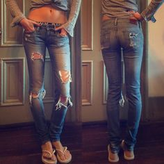 """RALPH LAUREN DENIM & SUPPLY SUPER DISTRESSED JEANS Excellent condition! Super distressed. Skinny skinny. Open knee design. Original tears on knees and legs. I add two safe pins on the holes to make it more fun! Can be took away easily. Distressed pockets on the back. Inseam 31"""", mid/low rise. Fits like a glove. No trade. Ralph Lauren Jeans Skinny"""