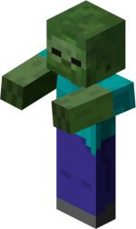 A zombie villager is a variant of zombie that has a chance to spawn when a zombie kills a villager (not on Easy). This mob wears tattered clothing and is a villager/zombie crossover. As of the zombie villager has clothes related to their profession. Minecraft Mobs, Minecraft Poster, Mine Minecraft, Minecraft Characters, Minecraft Party, Minecraft Crafts, Minecraft Buildings, Minecraft Skins Zombie, Minecraft Creations