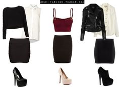 """""""Inspired Party Outfits with black bodycon skirts."""" by memi-fashion2 ❤ liked on Polyvore"""