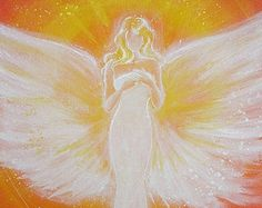 Title: touched by light    - 8 x 12 inches  - glossy  - limited photo of one of my paintings   Angels are light natures, which belong to a higher mental  dimension.  Take the protective strength of the angels to your home.  Take up their affectionately supporting strength to your life.   Angel accompany us on our way and inspire everyone of us in  a completely special and individual way.  They protect and touch our spirit and our soul with love,  tenderly and strongly they give us hope…