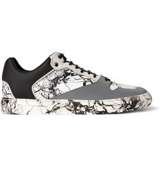 Balenciaga Suede-Trimmed Marbled Leather and Rubber Sneakers | MR PORTER