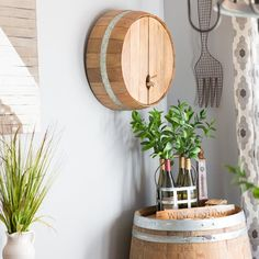 Our dining room got updated this weekend with a wine barrel wall-mounted drink dispenser! It plays in perfectly with our rustic decor.