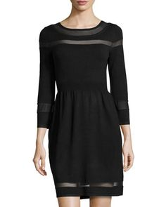 Boat-Neck Mesh-Inset Knit Dress, Black by Neiman Marcus at Neiman Marcus Last Call.