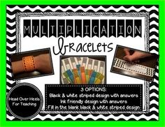 Get+your+students+excited+about+memorizing+their+multiplication+facts+with+these+bracelets!+Your+students+are+bound+to+learn+those+facts+looking+at+them+all+day!+Students+can+slip+off+wrist+and+wear+again+until+they've+mastered+that+fact+table.Multiplication+Facts+2-12+included.This+resource+includes+3+options:*Black+&+white+striped+design+with+answers*Ink+friendly+design+with+answers*Black+&+white+striped+design+fill+in+the+blank******SAVE+MONEY+AND+BUY+THE+BUNDLE!*******Multiplicati...