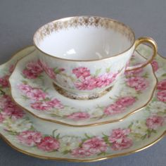 Antique LIMOGES Porcelain TRIO Cup & Saucer & Plate Gorgeous PINK ROSES * Pouyat