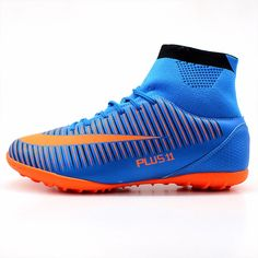 Men s Blue Orange High Ankle Turf Sole Indoor Cleats Football Boots Shoes  -MAULTBY aca1797e9