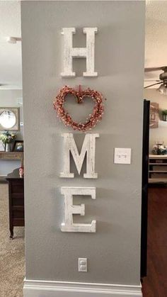 White home letters Entryway Decor Ideas Home letters White Home Projects, Home Crafts, Diy Home Decor, Home Living Room, Living Room Decor, Family Wall Decor, Letters On Wall Decor, Decorative Letters For Wall, White Houses
