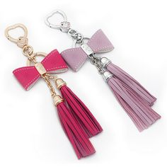 free shipping 1pcs Women s keychain chain tassel bow bags pendant crystal  genuine leather d0032 7b34d1c8d2