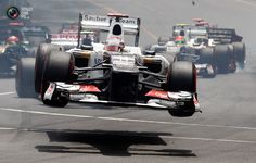 Sauber Formula One driver Kobayashi of Japan crashes after the start of the Monaco F1 Grand Prix.