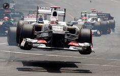 Sauber Formula One driver Kobayashi of Japan crashes after the start of the Monaco F1 Grand Prix.