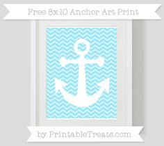 Pastel Aqua Blue Chevron  8x10 Anchor Art Print