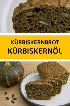 Brot aus Kürbiskernmehl und Dinkelmehl mit vielen Kürbiskernen. Mahlzeit! Banana Bread, Desserts, Food, Vegan Bread, Meal, Easy Meals, Bakken, Postres, Deserts