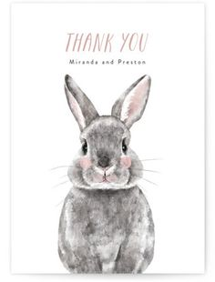 Baby Animal Rabbit Baby Shower Thank You Cards