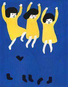 Sato Kanae  Simple and fun! Kids jumping out of their socks illustration