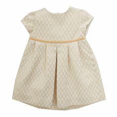 Mini Geometric Gold Jacquard Dress - Ecru/Gold
