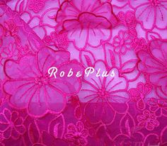 Floral Embroidered Organza Lace Fabric with Applique  door RobePlus