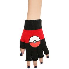 Pokemon Poke Ball Fingerless Gloves Hot Topic ($15) ❤ liked on Polyvore featuring accessories, gloves, fingerless gloves and ball gloves
