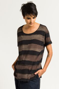 $280.00 | RUNDHOLZ Ribbed Jersey Tee in Saphir Stripe | Rundholz is world-renowned for creating fashion that combines innovative designs, unconventional details, and experimental fabric treatments for a distinctly independent look. Rundholz Mainline is the cornerstone of the three Rundholz lines; it embodies the Rundholz perspective: nonconformity, experimental construction, and whimsical styling. Shop Rundholz SS18 online or at Workshop in Santa Fe, New Mexico.