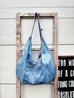 Faded Jeans, Upcycling Ideas, Denim Bag, Everyday Bag, Hobo Bag, Upcycle, Crossbody Bag, Etsy Shop, Shoulder Bag