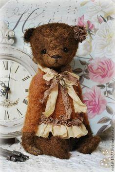 Цветочек Фло)) - коричневый,мишка,мишки тедди,тедди,мишутка,мохер,опилки