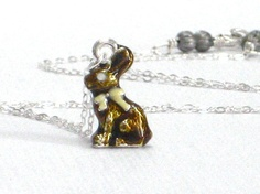 Bunny Pendant Chocolate Rabbit Necklace Sterling Silver by CCARIA, $28.00