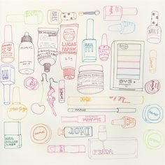 Makeup icons illustration by Sarah Beetson