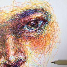 Noel badges pugh scribble art, a level art, gcse art, art sketches, art dra Art Sketches, Art Drawings, L'art Du Portrait, Portraits, Art Du Croquis, Scribble Art, Drawn Art, A Level Art, Contemporary Abstract Art
