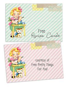 Free Vintage Recipe Cards