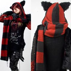 Red and Black Stripe Knit Cat Ear Hooded Gothic Punk Emo Winter Scarf Striped Scarves, Striped Knit, Black Scarves, Knit Scarves, Colorful Scarves, Wool Scarf, Lolita Fashion, Gothic Fashion, Look Fashion
