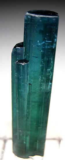 Elbaite var. Indicolite $ 900 Kunar Pro., Afghanistan miniature - 3.5 x 0.8 x 0.7 cm