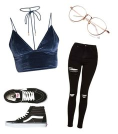 """blue"" by avakitchen on Polyvore featuring Topshop and Vans"