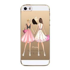 Beautiful Love Girls Dress Shopping Patterns Soft TPU Back Cases Cover For Apple iphone 4 4s 5 5s SE 5C 6 6s 6 plus Phone Cases